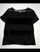 czarna welurowa bluzka z transparentnymi paskami
