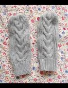 Pepco szare rękawiczki warkocze jednopalczaste...