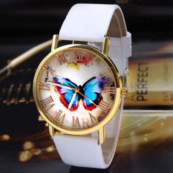Zegarki Zegarek damski motyl biały pasek