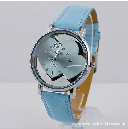NOWY Piękny błękitny zegarek damski