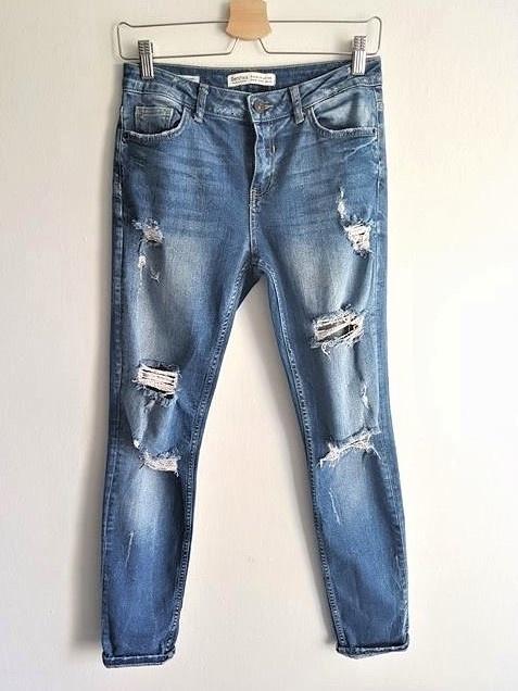 Spodnie Spodnie jeansowe Bershka dziury przetarcia