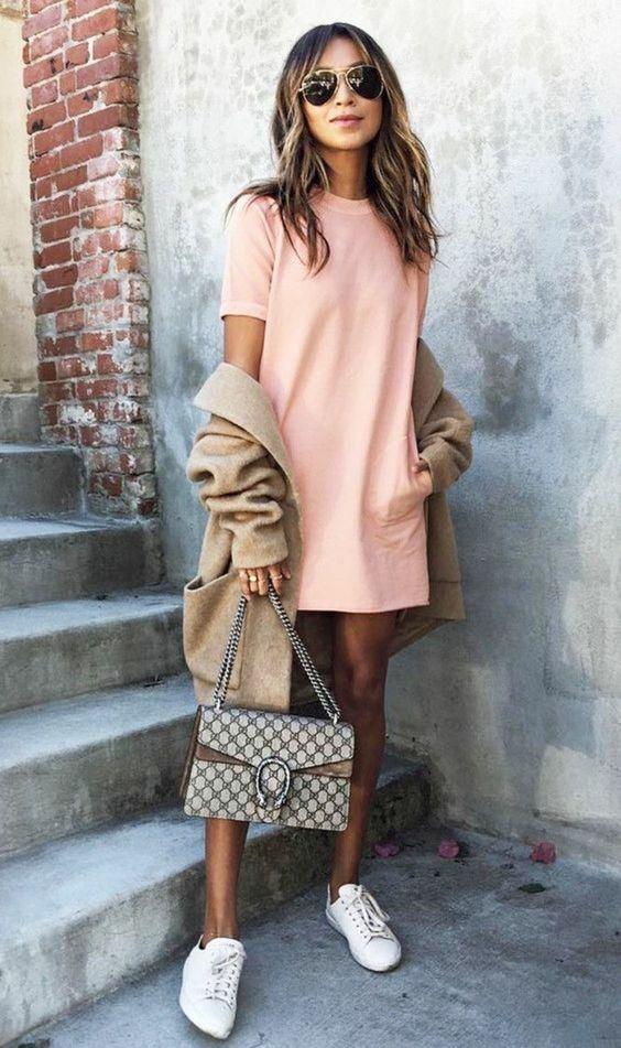 Codzienne Różowa sukienka