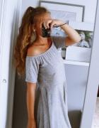 szara sukienka hiszpanka odsłonięte ramiona...