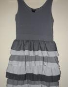 Szara sukienka falbanki HM XS