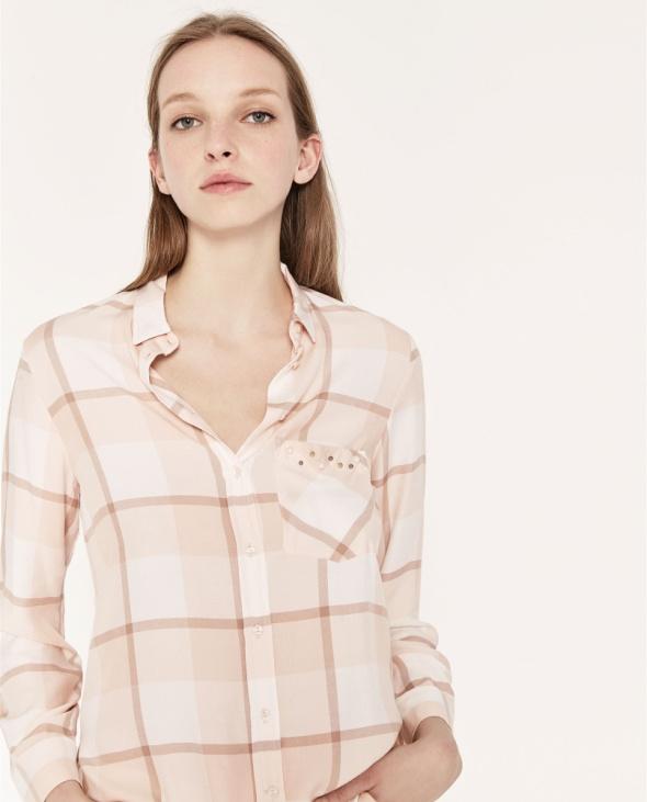 Koszule koszula pudrowa ZARA perełki XS S