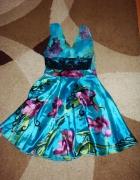 turkusowa rozkloszowana zwiewna sukienka