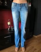 Spodnie Wycierane Jasny Dżins