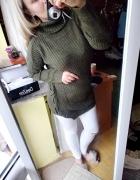 Sweter tunika wiązany warkocz golf khaki...