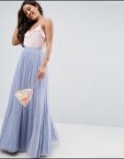 Asos maxi tiulowa spódnica pastelowa błękit