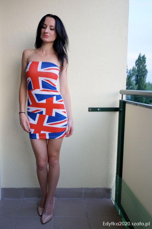 Suknie i sukienki TUNIKA ATMOSPHERE AMERYKAŃSKA FLAGA ROZMIAR S