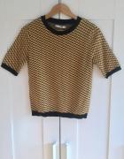 Sweter krótki rękaw Pull&Bear musztardowy miodowy