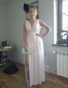 Sukienka maksi na wesele pudrowy róż...