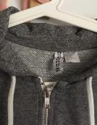 Szara bluza h&m z kapturem na zamek szary melanż