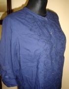 granatowa Koszula rozm 46 haftowana ze stójką