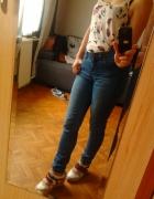 Spodnie jeansy rurki dżinsowe przecierane klasyczn...