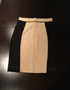 Beżowo czarna ołówkowa spodnica