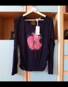 Nowa czarna bluzka oversize z nadrukiem