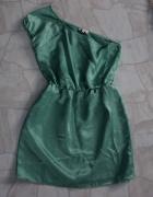 Szafirowa wytłaczana sukienka na jedno ramię M