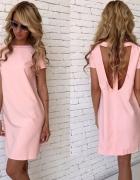 Nowa różowa sukienka wycięcie S