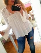 Biała bluzka boho koronka New Look L 40...
