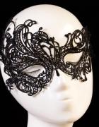 Czarna koronkowa maska wenecka bal maskarada