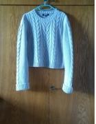 Jasnoszary siwy sweter pleciony crop missguided...