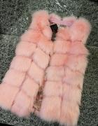 Futrzak kamizelka różowa futrzak różowy lis