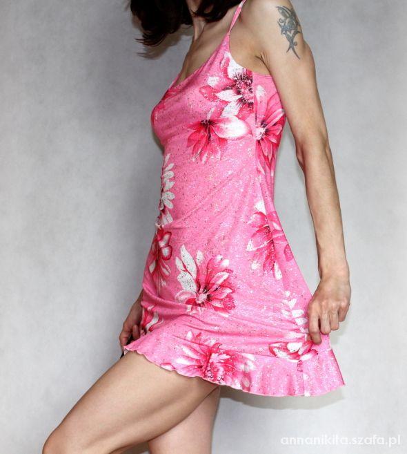 New Look różowa kwiaty mini rozm 34 XS...