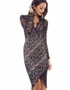 Czarna koronkowa sukienka ołówkowa asymetryczna...