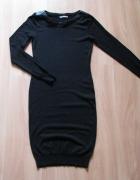 dzianinowa sukienka Orsay skórzane wstawki...