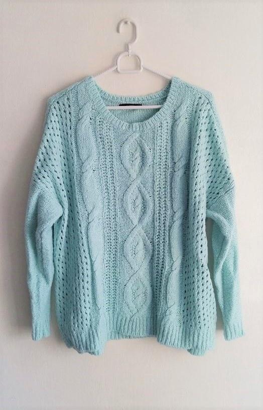 Miętowy sweterek warkocz oversize splot