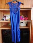 Dresowa sukienka boho kobalt