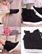 Sneakersy frędzle czarne botki