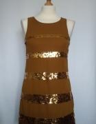 Śliczna mini sukienka z cekinami złotymi Alice...