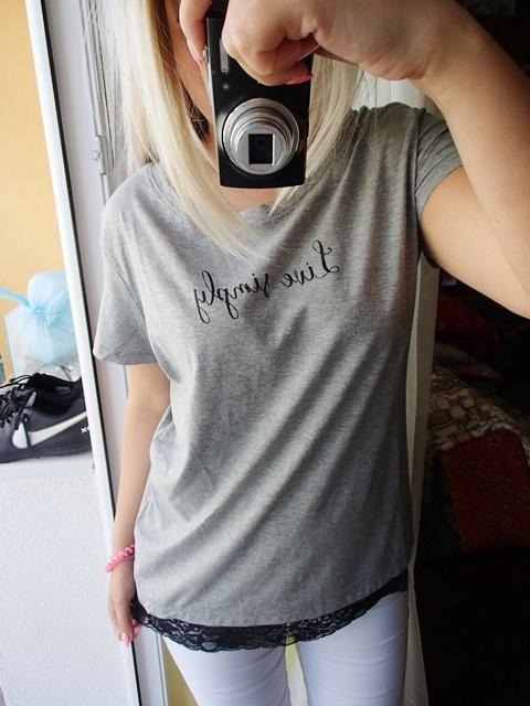 Koszulka bluzka koronka brokat napis...