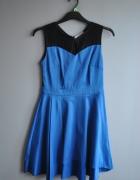 czrno granatowa sukienka z koronka na plecach 40