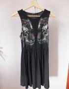 Czarna sukienka tygrysy M Tally Weill