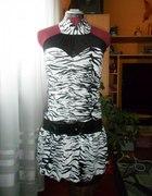 Sukienka zebra z siateczka
