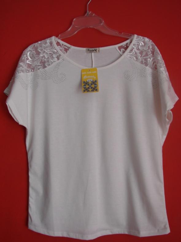 Bluzki Biała koronkowa bluzka