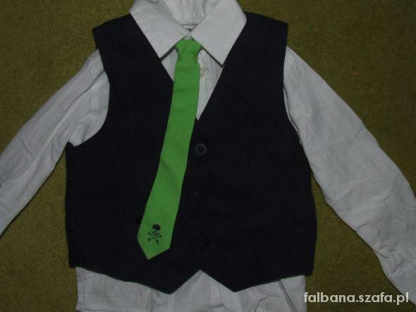 Śliczny komplet koszula kamizelka krawat...