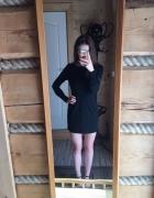 Sukienka mała czarna srebrny zamek Zara M gruba...