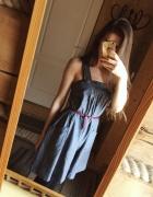 Jeansowa dżinsowa sukienka rozkloszowana krótka S...