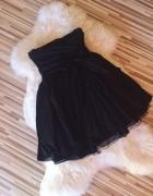 czarna krótka sukienka Zara rozkloszowana tiul tiu...