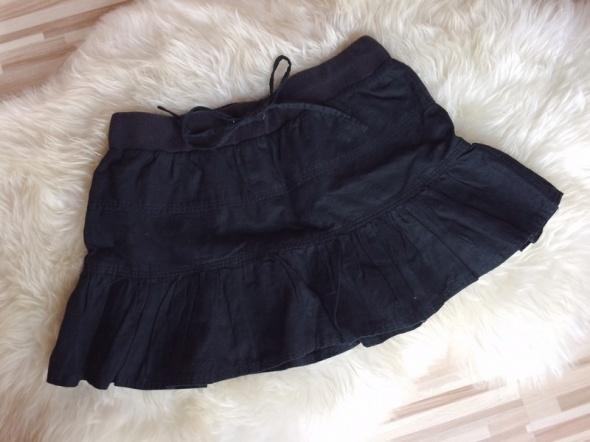 Czarna lniana rozkloszowana spódniczka spódnica M...