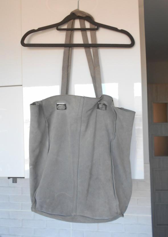 a092db3593964 Zara szara zamszowa torba shopper bag XL w Torebki na co dzień ...