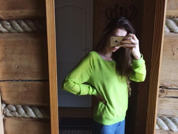 Bluza bluzka sweter neon neonowy mgiełka S...
