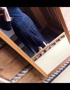 Spódniczka spódnica czarna zamszowa frędzle S M