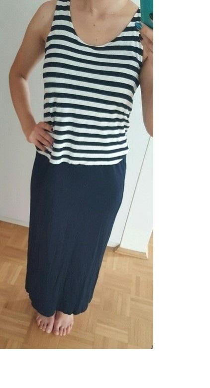 Długa sukienka w marynarskim stylu...