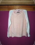 dwukolorowy sweter dwa materiały brzoskwiniowy