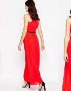 Czerwona maxi suknia